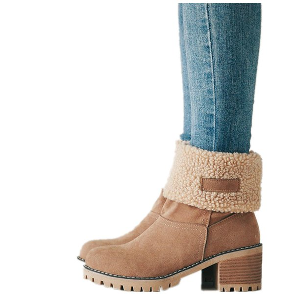 2019 New Women Boots Winter outdoor keep Warm Fur Boots Waterproof Women's Snow Thick heel with round head short boot