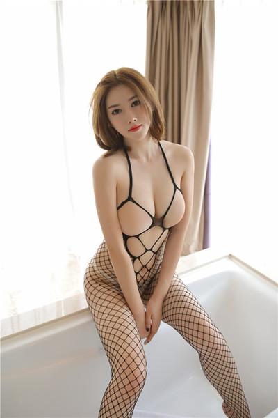 best selling Euro-American explosive sexy underwear, breast-dew, neck-hanging net, silk stockings, U.S. -U.S. and British netsuit 8558