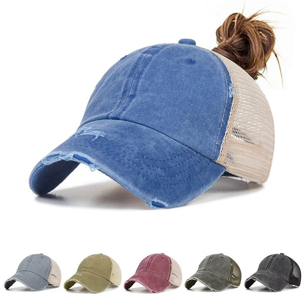Fashion denim washed ponytail baseball cap ladies trend sun protection baseball cap Snapback casual girl summer sports hat