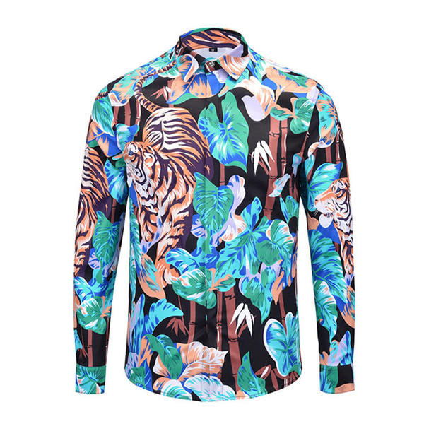 new 2019the GG's long sleeve Dress men's long shirts Brands 3D tiger Men's Shirts Mens Business Lotus leaf print Medusa Retro luxuryt shirt