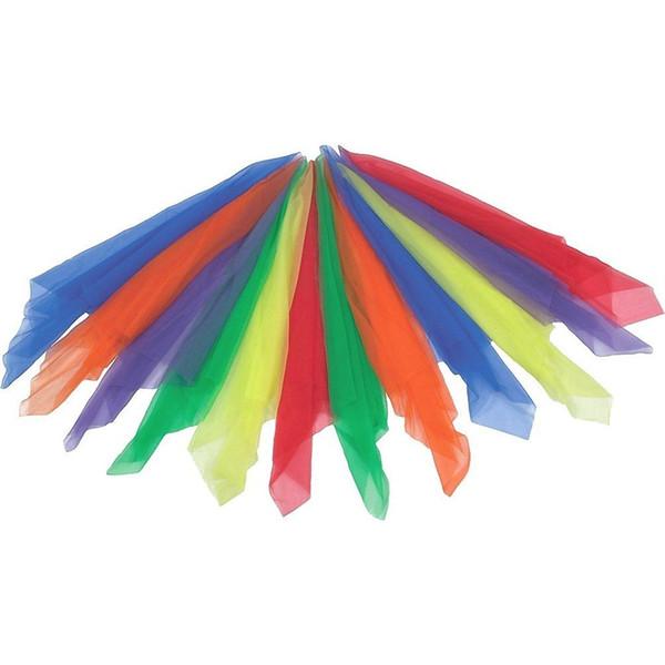12 pcs lenços de dança lenços de malabarismo lenços banda de ritmo mágico, multicolorido, quadrado, 60x60 cm d90627