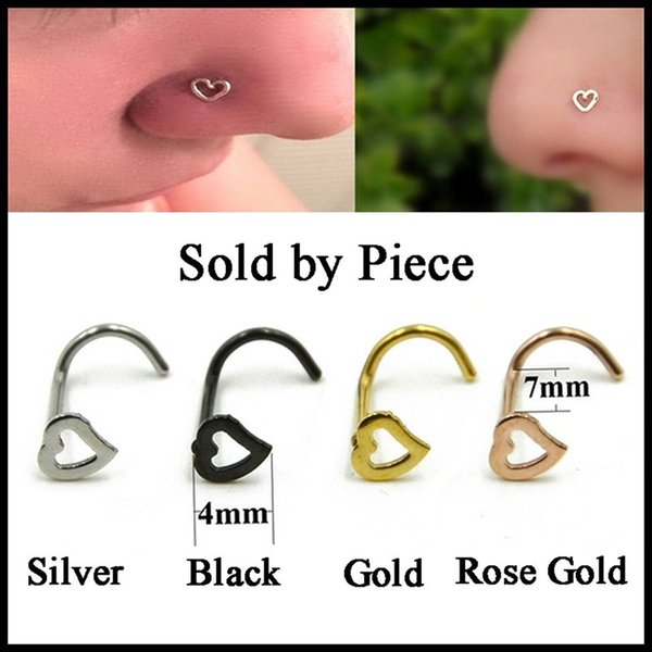 Fashion Girl Heart Gold Silver Stainless Steel Nose Ring Studs Nose Ear Lip Belly Button Piercing Punk Party Body Jewelry