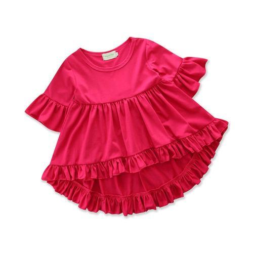New Kids Baby Girls Pudcoco Princess Dress Casual Tops couleur unie manches courtes robes flare Vêtements Eté Automne costume