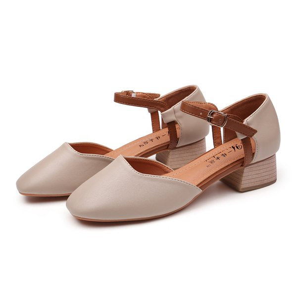 326114429f42 Women Mary Janes Sandals Buckle Strap Ladies Summer Dress Shoes 3.5cm  Square Heel Chic Slingback
