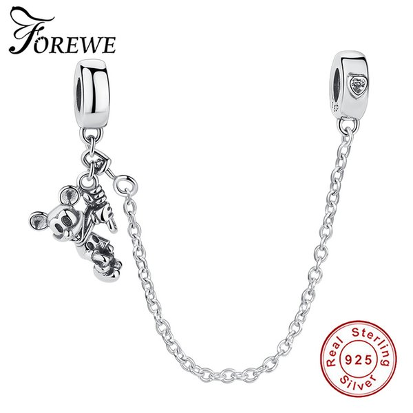 FOREWE 925 Sterling Silver  Connection Safety Chain Charm Fit Bracelet&Bangle Heart Shaped Sterling Silver Jewelry