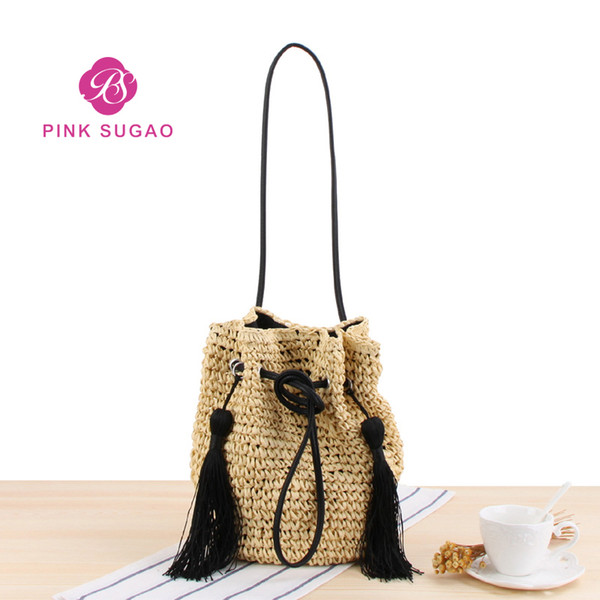 Pink sugao designer handbags designer luxury handbags purses straw handbag 2019 brand fashion luxury designer bags tassel bag bucket 042401