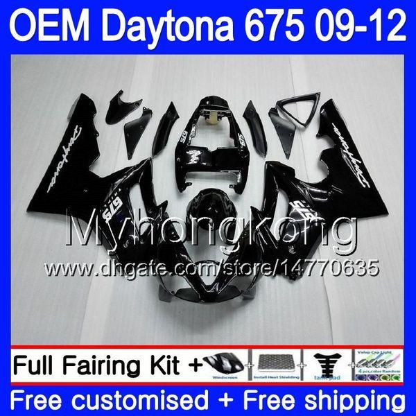 Injection For Triumph Daytona 675 09 10 11 12 Bodywork 323HM.1 Daytona-675 Daytona675 Gloss black Daytona 675 2009 2010 2011 2012 Fairing