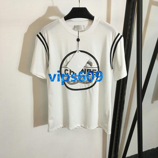 High end mulheres meninas lantejoulas t-shirt com carta de impressão listrado tripulação pescoço curto manga tops tee blusa casual blusa verão vestido de pista