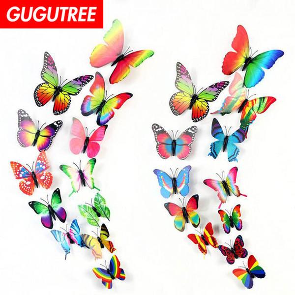 Ev 3D buttlefly süslemeleri karikatür sanat duvar sticker dekorasyon Çıkartmaları duvar boyama Çıkarılabilir Dekor Duvar Kağıdı G-2418