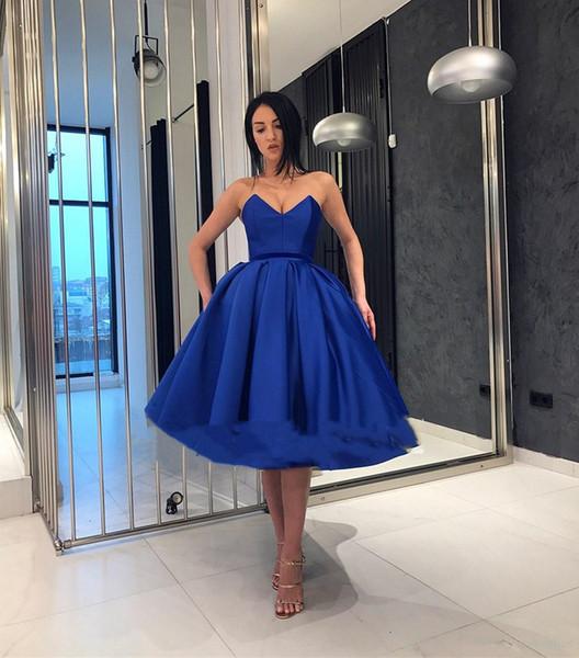 Compre Ruffles Royal Blue Vestidos De Fiesta Elegantes Vestidos De Gala Cortos Vestidos De Noche Cortos Vestidos De Cóctel Hasta La Rodilla Baratos A
