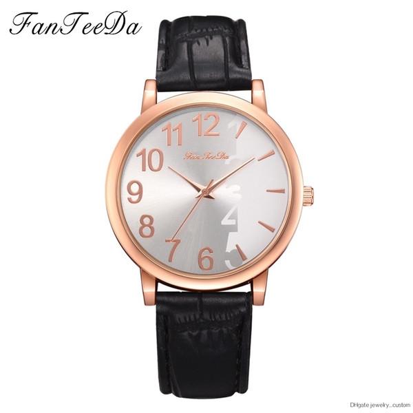 Fanteeda Vintage Leather Rose Gold Dial Watches Women Fashion Dress Watch Minimalist Stylish Fresh Quartz Female Watchs Hours