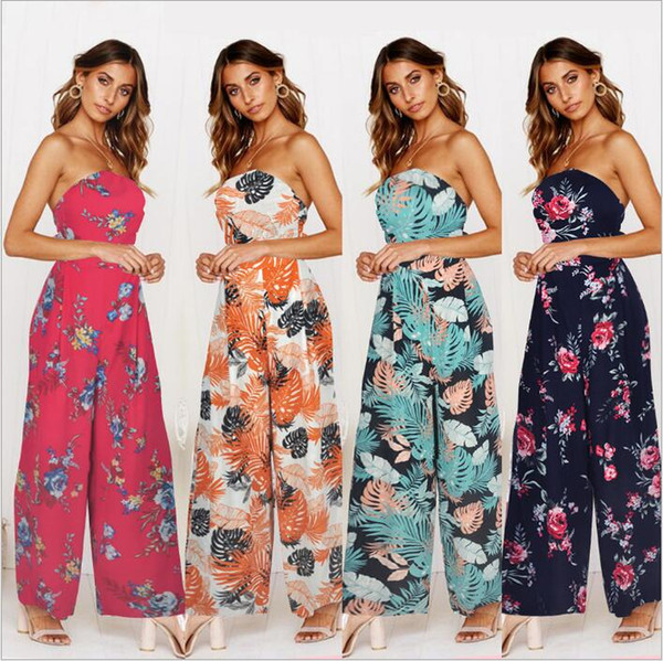 Jumpsuits Women Clothes Loose Pants Rompers Print Casual Bodysuit Sexy Fashion Summer Beach Overalls Slim Jumpsuit Women's Clothing B4216