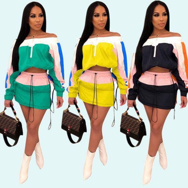 Patchwork Femmes survêtement de protection contre le soleil d'été tenues à manches longues Épaule Out Crop Top Veste Court Dress Sportswear Street Suit Street Suit A3252