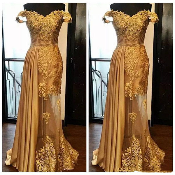 2019 Golden Off The Shoulder Lace Mermaid Evening Dresses Lace Applique Beaded Satin Sweep Train Formal Party Prom Dresses