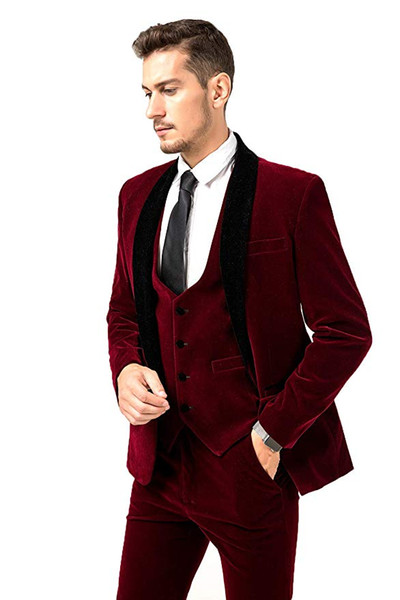 New Style Groom Tuxedos Burgundy Groomsmen Shawl Black Lapel Best Man Suit Wedding/Men Suits Bridegroom ( Jacket+Pants+Vest+Tie ) A494