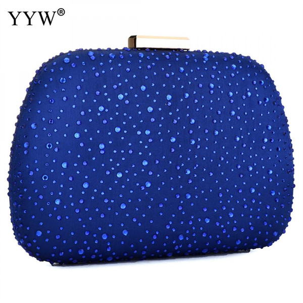 Rhinestone Rivet Evening Bag Women Fashion Blue Zipper Crossbody Bag Clutches Female Chain Shoulder Purse Clearance Clutch #744168