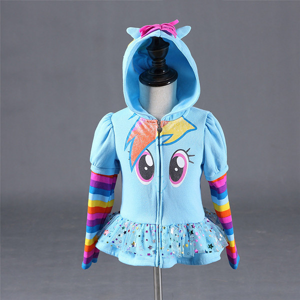 top popular Winter 2019 Girls hoodies My Little Kids Sweatshirt Jackets Baby Hoodie Cute Pony Design Windbreaker Sport Blazer Outerwear 8Y 2021