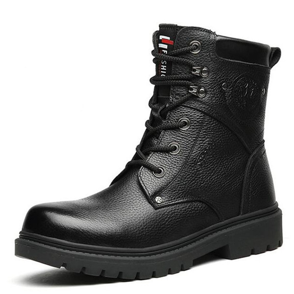 New Winter Martin Boots Comfort Warm Wool Snow Boot Men Shoes Men Boots Fashion Casual Shoes Non-slip Genuine Leather Boots