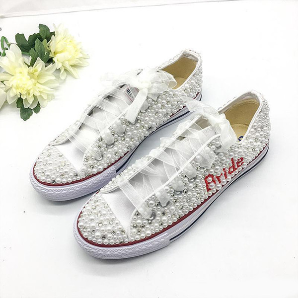 Fashion Handmade Crystals Pearls Wedding Shoes Sneakers Bridal flat Shoes Canvas plimsoll bridesmaid Sneaker shoes size 34-44