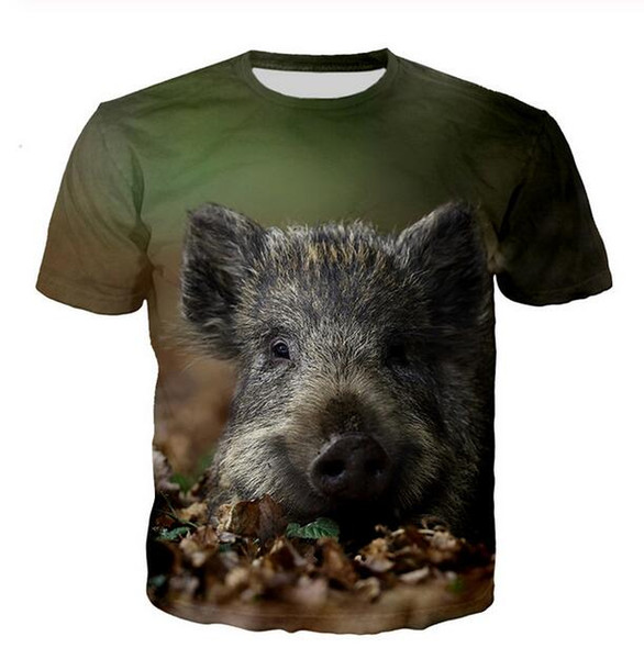 Nouveau Mode pour hommes / Womans Sanglier T-shirt d'été drôle de style unisexe 3D T-shirt imprimé Casual Hauts W138