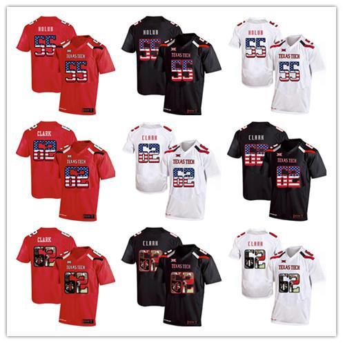 super popular 5933d 2c9f0 2019 Mens Texas Tech Jerseys 55 E.J. Holub 62 Le'Raven Clark 2019 USA Flag  College Football NCAA Jersey American Football Jerseys From ...