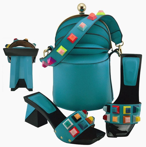 High grade lake blue women pumps and bag set with big crystal decoration african shoes match handbag MD011