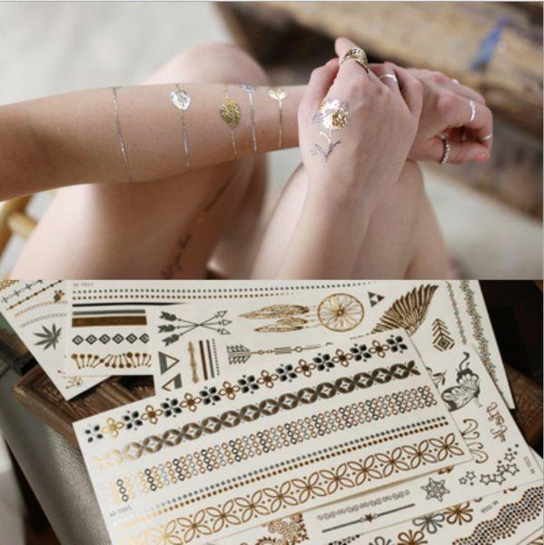 1PC Vintage Temporary Tattoo Stickers Women Kids Body Art Star Feather Golden Metallic Water Transfer Flash Tatoo Child