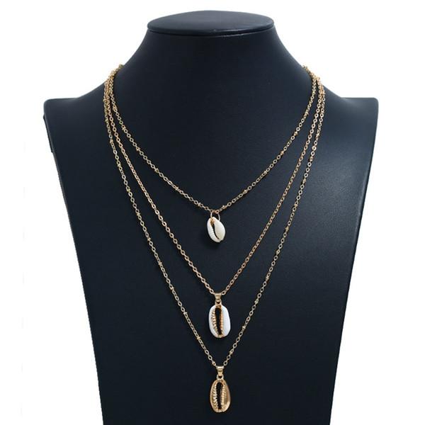 Collar de color dorado de las mujeres 3 capas de playa de metal colgante de collar y colgante de joyería de moda