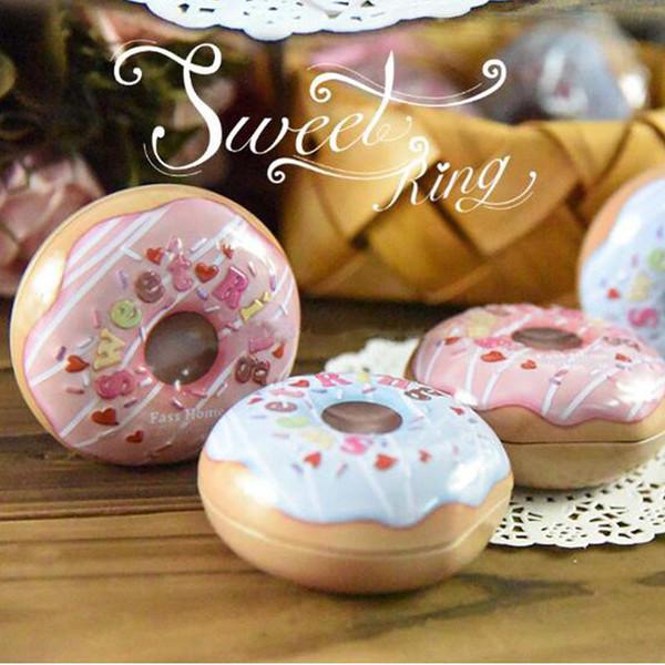 Donut en forma de caja de dulces de navidad caja de lata redonda creativa regalo de boda caja de embalaje titular del favor de partido