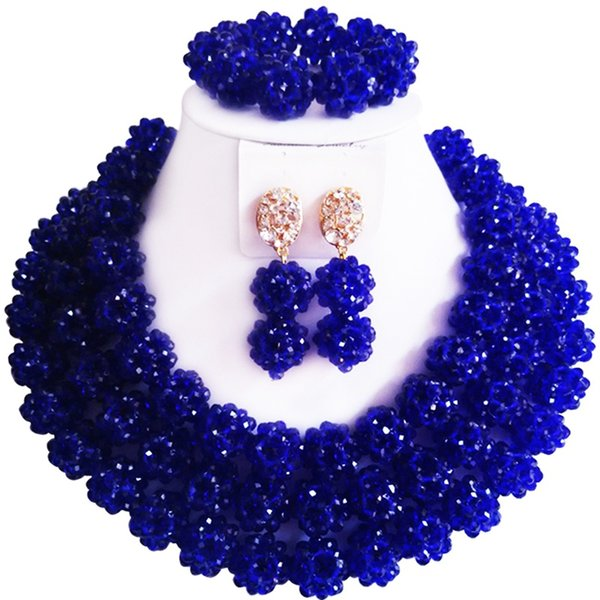 Best-selling Nice Quality Royal Blue Color Crystal African Party and Daily Ladies Beads Necklace Earrings Set 3C-SJDS-03