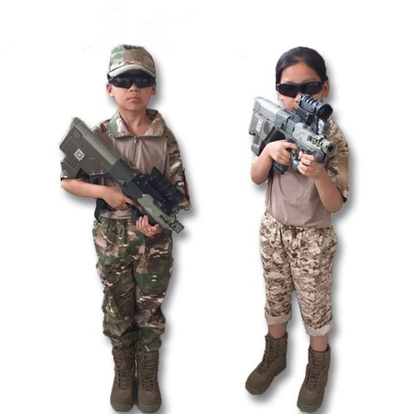 Kids Outdoor Camouflage Uniforms Clothing Sets Children Boy Girl Fitted Army Short Sleeve Shirt Top Pants Training Suit