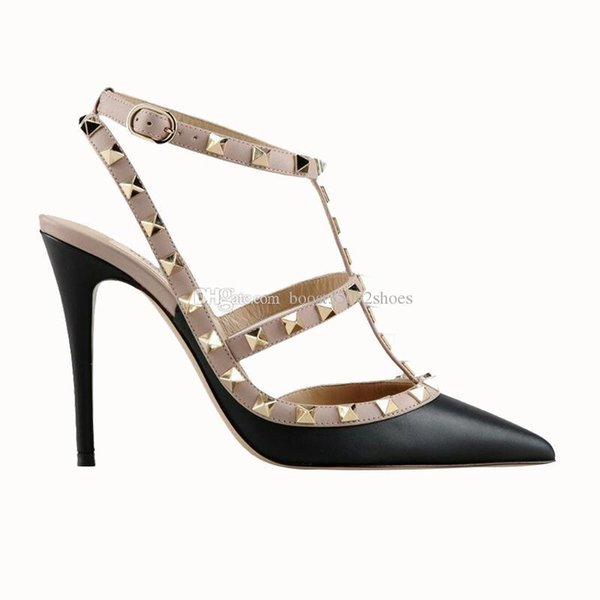 Designer Pointed Toe 2-Strap with rivet high heels Patent Matte Leather Sandals Women Girl Strap Dress Shoes valentine high heel Shoes