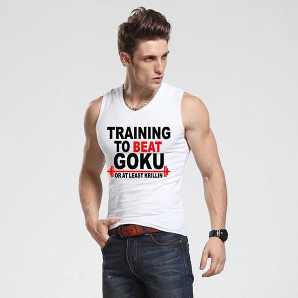 New To Beat Goku Saiyan Design Men S Tank Top Dragon Ball Z Slim Fit Vest Super Saiyan Singlets Bodybuilding Tank Shirt