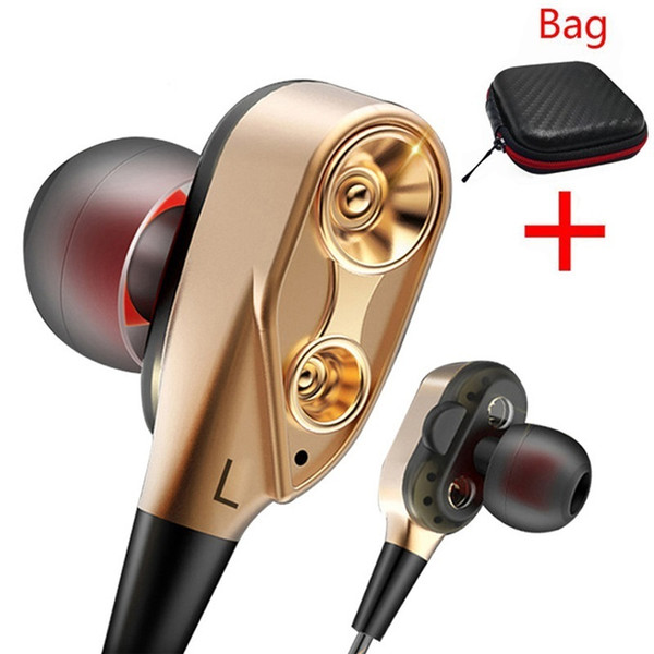 Dy12 Brand Headphone Earphone Wired Double Unit Drive Stereo Headset With Microphone Sport Bass Earbudsfor Mobile Phone Xiaomi Lowest price