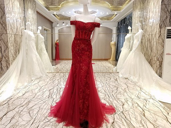 Red evening gown corset back off the shoulder beaded mermaid prom dresses long evening dress on sale real photos