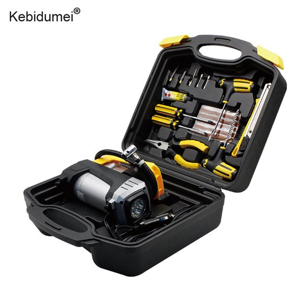 Car 12V Electric Tire Inflator Pump Air Compressor With Flashlight Portable Tire Repair Box Tool Set for Universal Auto off road