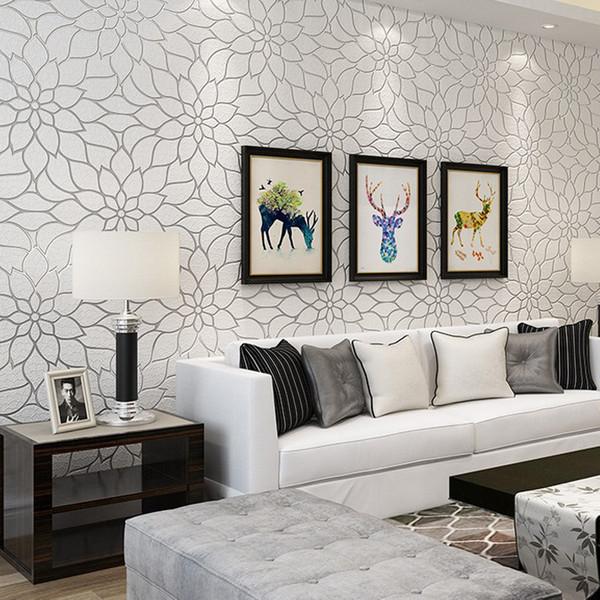 European Lotus Living Room Tv Background Wallpaper Modern Minimalist Bedroom Wallpaper 3d Videowall Suede Fabric
