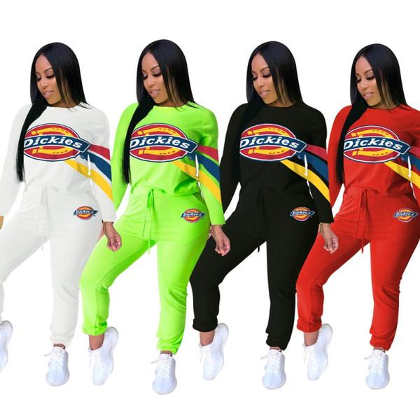 Womens designer treino duas peças set jogging carta impressão sportswear mangas compridas e calças compridas ternos roupas femininas casual klw2184