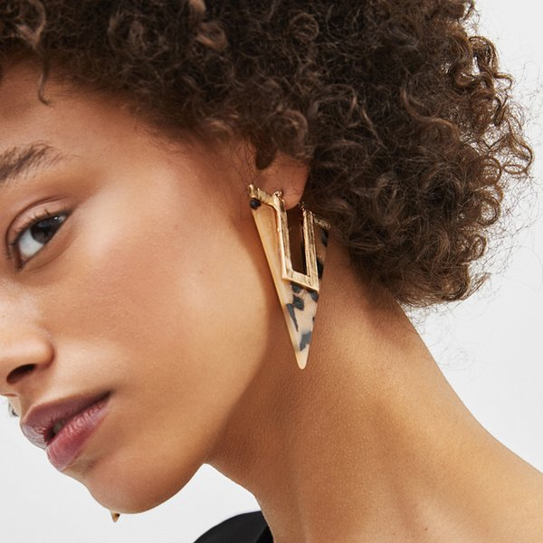 New Fashion Statement Jewelry For Women Leopard Print Acrylic Triangular geometric Drop Earring Acetate Party Brincos Gift