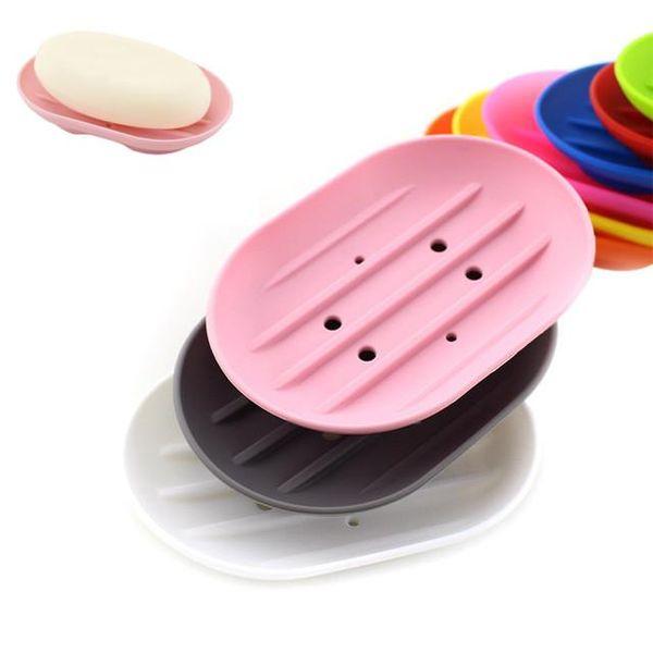 Piatti di sapone in silicone flessibile portasapone di sapone antiscivolo vassoio piatto che perde muffa Boutique cremagliera sapone CCA11519 100 pz