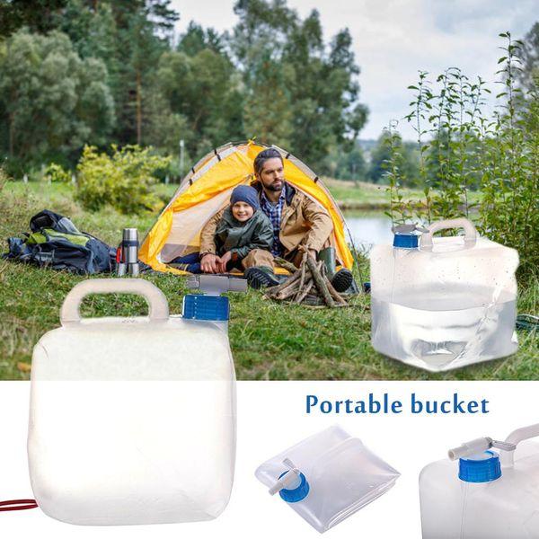 Contenedor de bolsa de agua plegable con espita Portátil al aire libre Camping Senderismo Agua Tanque de emergencia para acampar Senderismo