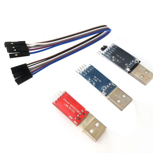 FULL-PL2303 Adaptador CP2102 CH340G USB a TTL con kit de línea DuPont de 4 pines