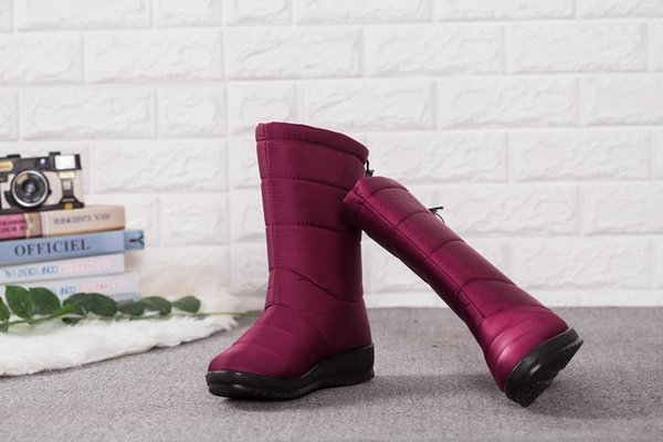 Winter Women Boots Mid-Calf Down Boots Girls Winter Shoes Woman Plush Insole Botas Female Waterproof Ladies Snow Boots