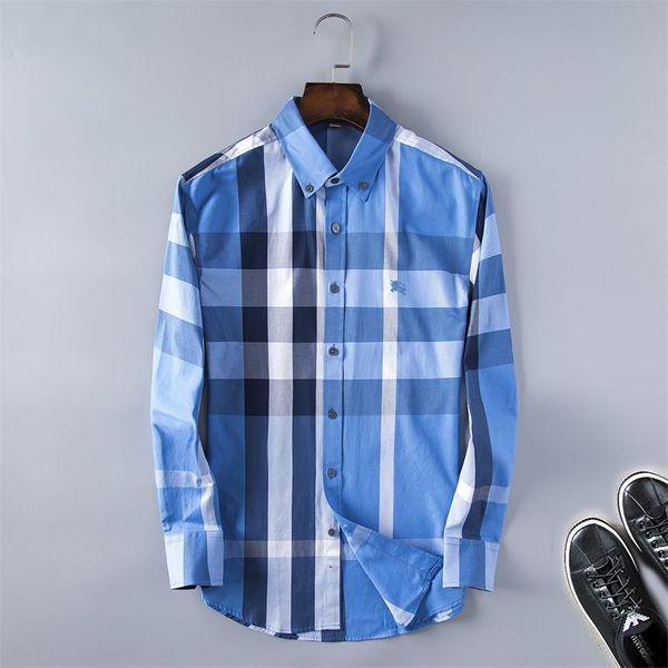 2019 Marque d'affaires Chemise Casual hommes d'hommes à manches longues à rayures coupe cintrée Camisa Masculina sociaux chemises hommes nouvelle chemise de créateur de mode @ 07