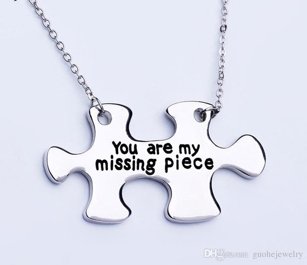 New pendent necklace Romantic couple style necklace you are my missing piece letter necklace free shipping