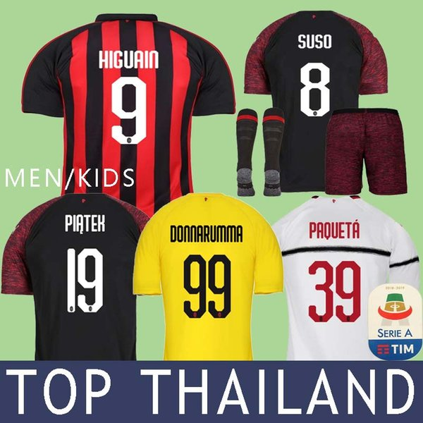e84228911 2019 18 19 Higuain AC Milan Piatek Soccer Jerseys Football Shirt Paqueta  KESSIE Donnarumma Goalkeeper Long Sleeve Kids 2019 CALHANOGLU Cutrone From  Yuprawn