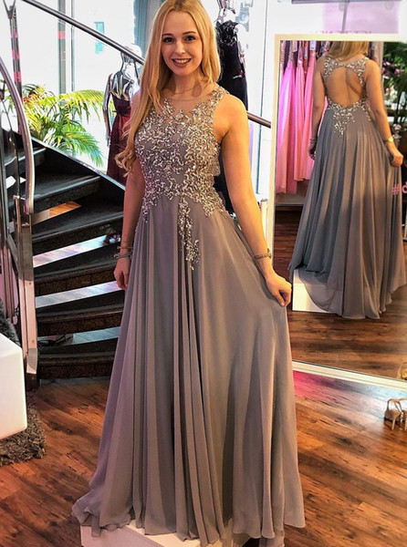 Gray Prom Dresses Long 2019 Bead Lace Appliques Chiffon Formal Evening Gowns Cheap Cocktail Party Ball Red Carpet Dress Celebrity Gown
