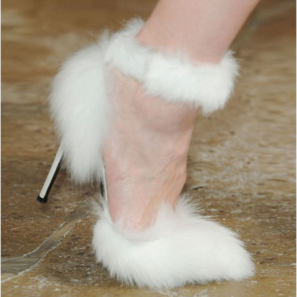 New White Fur Sandals Stiletto heel Rome Style T Show Prom Party Pumps Big Size euro 42