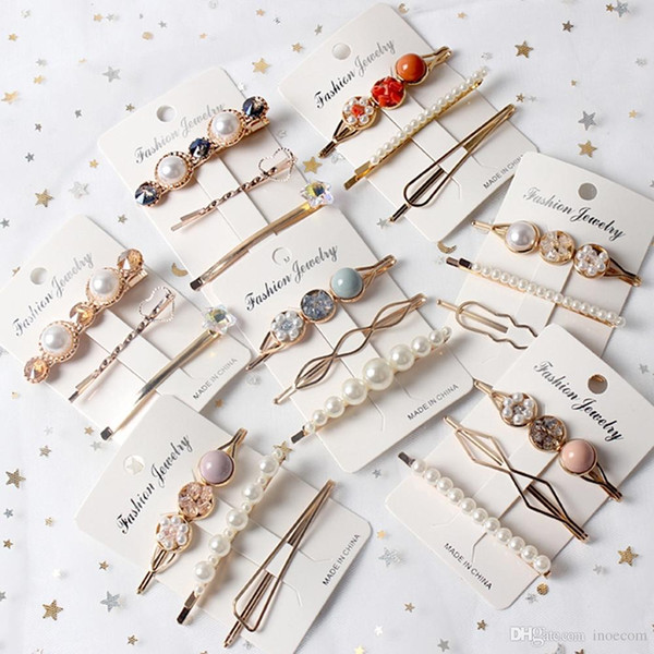 3pcs/Set Women Girls Vintage Pearl Hair Clip Barrette Crystal Bobby Pin Hairpin Clamps Party Hair Jewelry Accessories