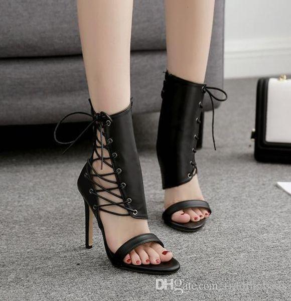 Charm2019 11cm Black Lace Up On Side Peep Toe Pumps Designer Women High Heel Shoes Ankle Bootie